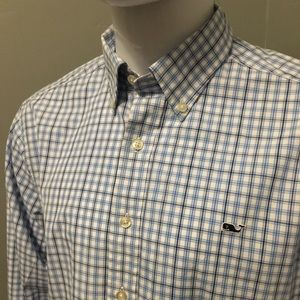 Vineyard Vines L slim fit whale shirt blue check